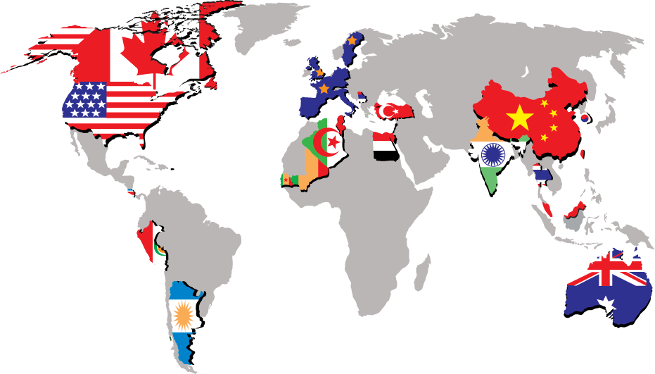 World map showing flags in countries where labs have used RMA software